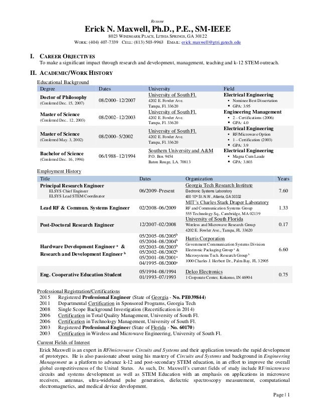 Page | 1 Resume Erick N. Maxwell, Ph.D., P.E., SM-IEEE 8023 WINDMARK PLACE, LITHIA SPRINGS, GA 30122 WORK: (404) 407-7339 ...