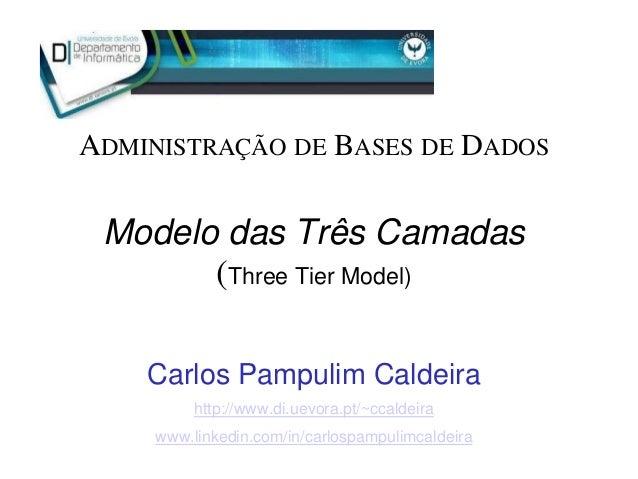 Modelo das Três Camadas (Three Tier Model) Carlos Pampulim Caldeira http://www.di.uevora.pt/~ccaldeira www.linkedin.com/in...