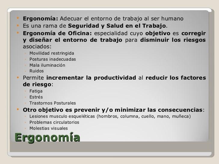 Ergonomia para oficinas elementos del puesto de trabajo for Ergonomia en la oficina