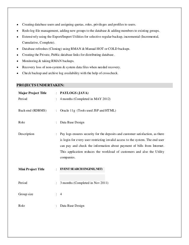 dba resume