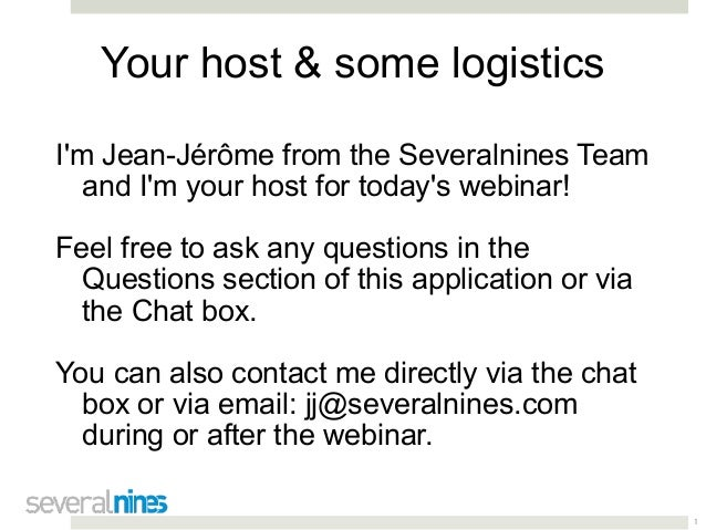 1 Your host & some logistics I'm Jean-Jérôme from the Severalnines Team and I'm your host for today's webinar! Feel free t...