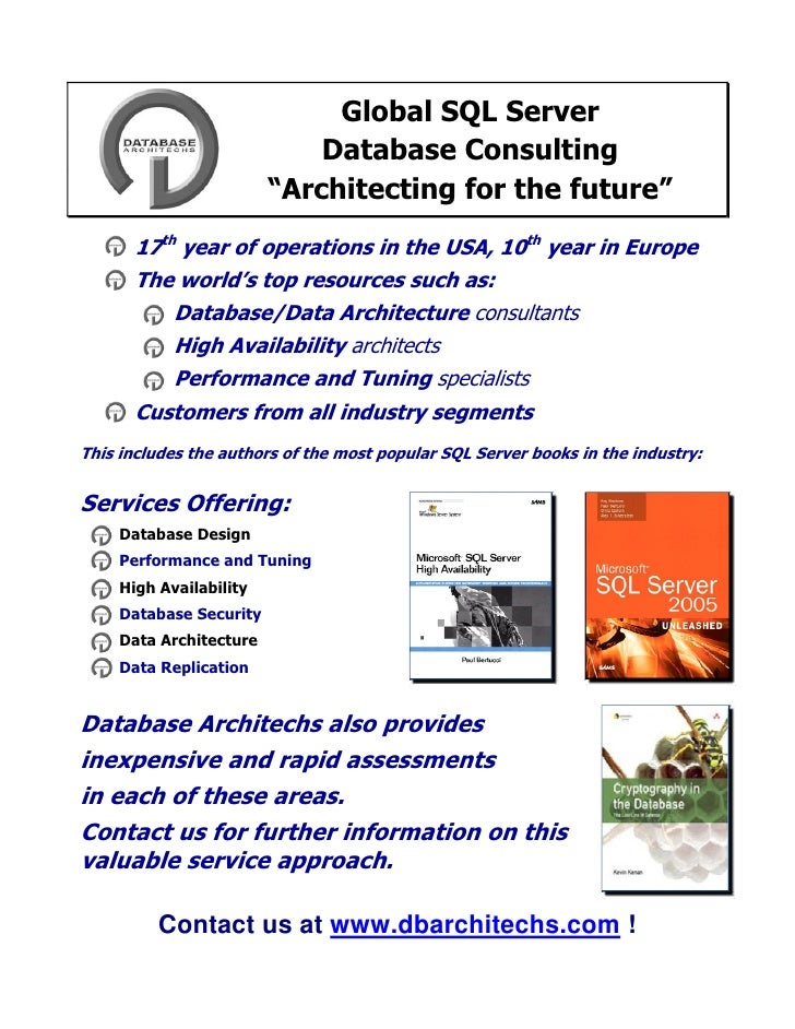 """Global SQL Server                              Database Consulting                          """"Architecting for the future"""" ..."""