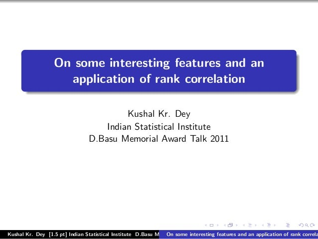 On some interesting features and an                    application of rank correlation                                    ...