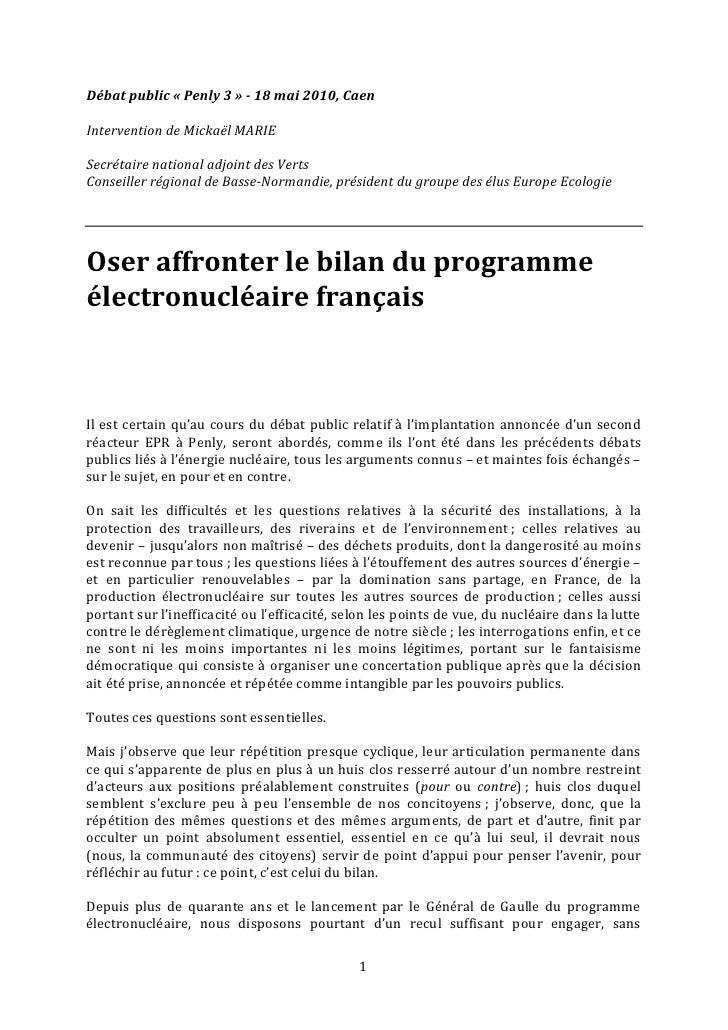 Débat public « Penly 3 » - 18 mai 2010, Caen  Intervention de Mickaël MARIE  Secrétaire national adjoint des Verts Conseil...