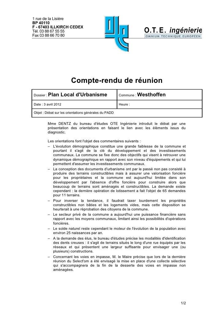 Compte-rendu de réunionDossier : Plan    Local dUrbanisme                    Commune : WesthoffenDate : 3 avril 2012      ...