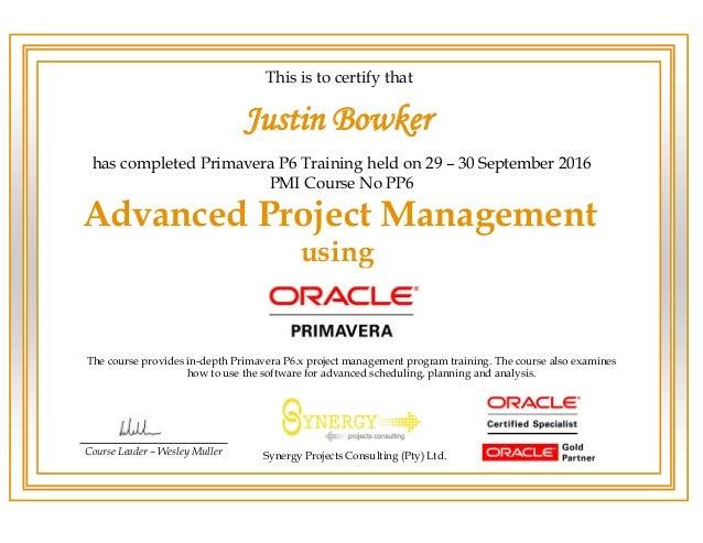 Primavera P6 Advanced Course Certificate Jwker