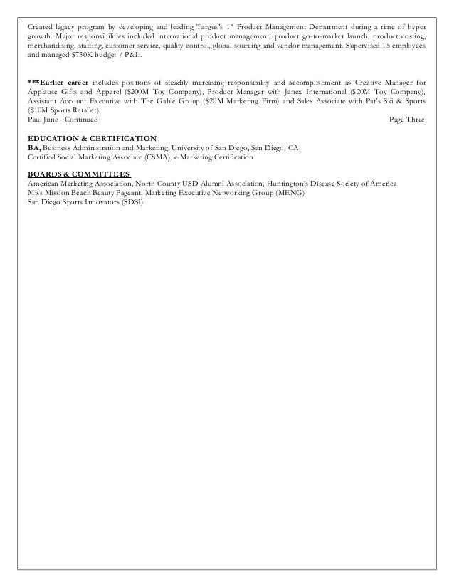 Director Of Product Management; 3.  Vp Marketing Resume