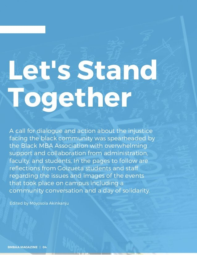 Let's Stand Together A call for dialogue and action about the injustice facing the black community was spearheaded by the ...