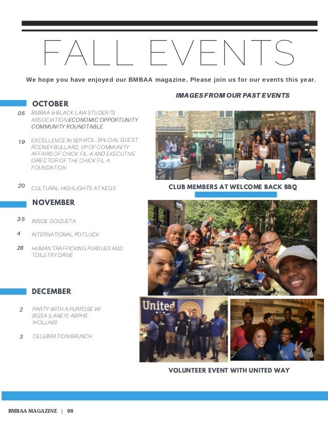 FALL EVENTS OCTOBER NOVEMBER DECEMBER 05 19 20 3-5 4 28 2 3 CLUB MEMBERS AT WELCOME BACK BBQ Wehopeyouhaveenjoyedour...