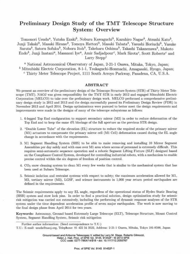 Preliminary Design Study of the TMT Telescope Structure System: Overview Tomonori Usudaa, Yutaka Ezaki, Noburu Kawaguchib,...