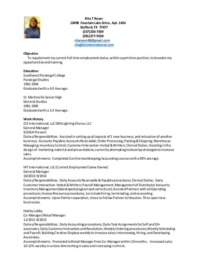 clerical duties description resume