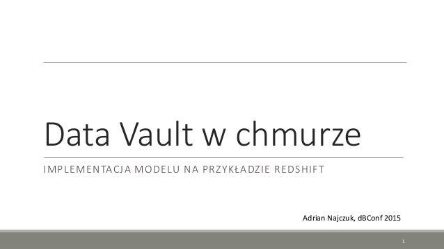 Data Vault w chmurze IMPLEMENTACJA MODELU NA PRZYKŁADZIE REDSHIFT Adrian Najczuk, dBConf 2015 1