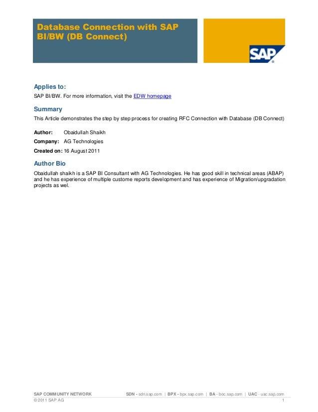 SAP COMMUNITY NETWORK SDN - sdn.sap.com | BPX - bpx.sap.com | BA - boc.sap.com | UAC - uac.sap.com© 2011 SAP AG 1Database ...