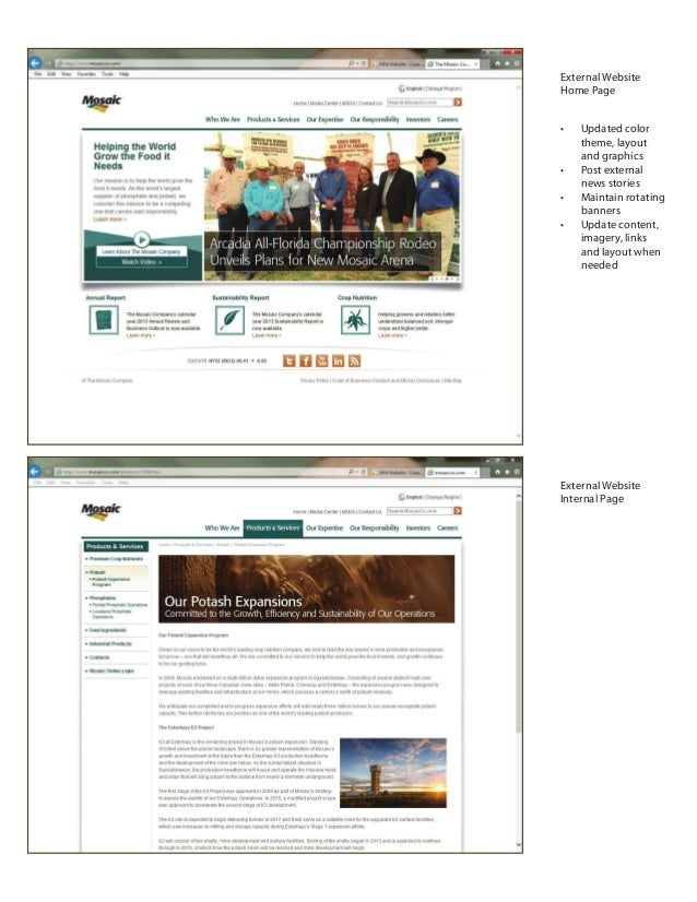 External Website Home Page External Website Internal Page • Updated color theme, layout and graphics • Post external news ...