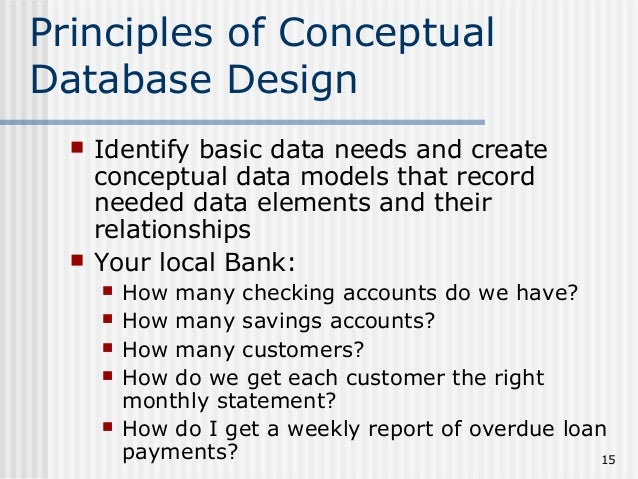 basic database design concepts The fundamentals of database design to end up with a good 'relational database' application, you need to ask: do i actually need one if so, how far do you want.