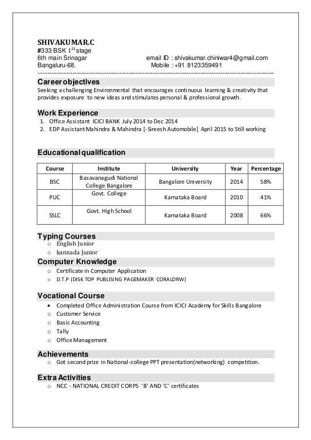 SHIVAKUMAR.C #333 BSK 1 𝑆𝑡 stage 6th main Srinagar email ID : shivakumar.chiniwar4@gmail.com Bangaluru-68. Mobile : +91 81...