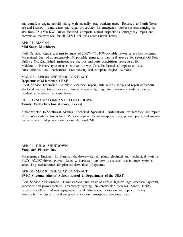 Company closed down on resume