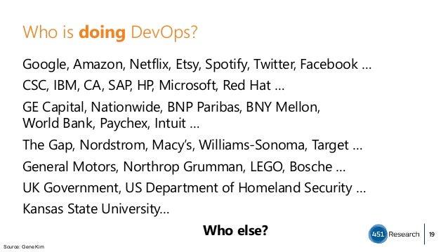 Who is doing DevOps? Google, Amazon, Netflix, Etsy, Spotify, Twitter, Facebook … CSC, IBM, CA, SAP, HP, Microsoft, Red Hat...