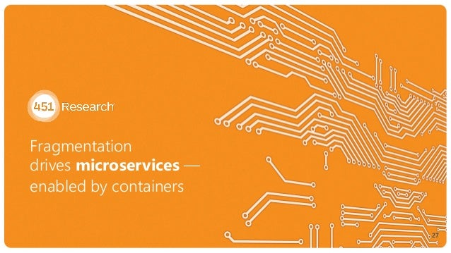 Fragmentation  drives microservices — enabled by containers 27