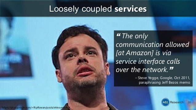 """28 Loosely coupled services """" The only communication allowed [at Amazon] is via service interface calls over the network.""""..."""