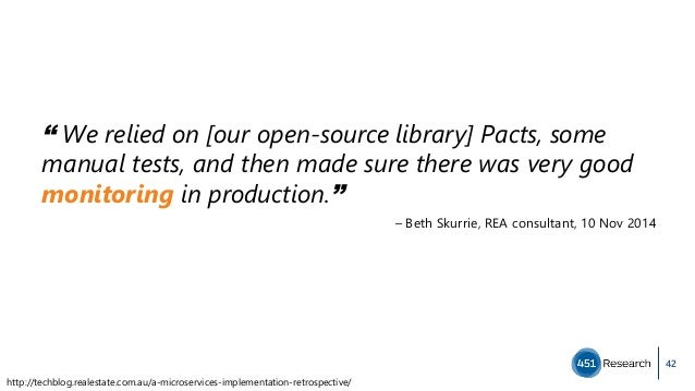 """42 """" We relied on [our open-source library] Pacts, some manual tests, and then made sure there was very good monitoring in..."""