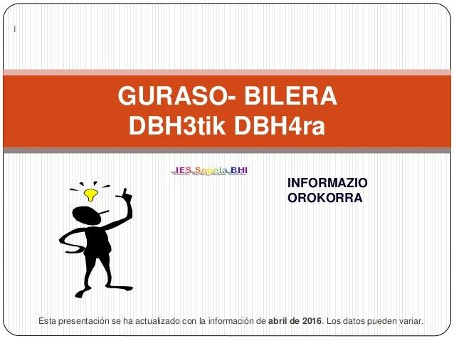 GURASO- BILERA DBH3tik DBH4ra INFORMAZIO OROKORRA Esta presentación se ha actualizado con la información de abril de 2016....