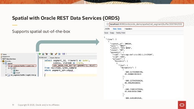 Copyright © 2020, Oracle and/or its affiliates19 Spatial with Oracle REST Data Services (ORDS) Supports spatial out-of-the...