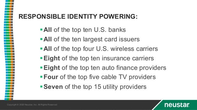 Copyright © 2020 Neustar, Inc. All Rights Reserved §All of the top ten U.S. banks §All of the ten largest card issuers §Al...