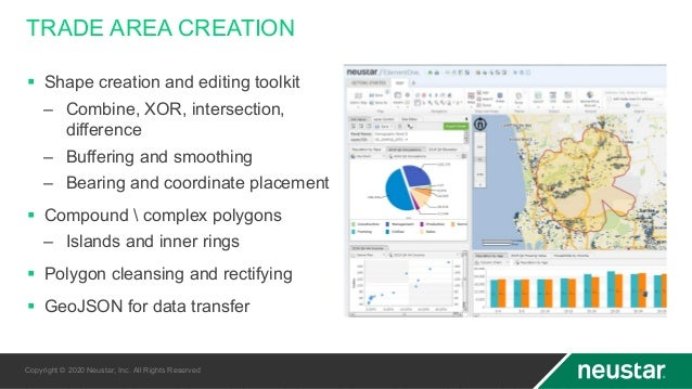 TRADE AREA CREATION § Shape creation and editing toolkit – Combine, XOR, intersection, difference – Buffering and smoothin...