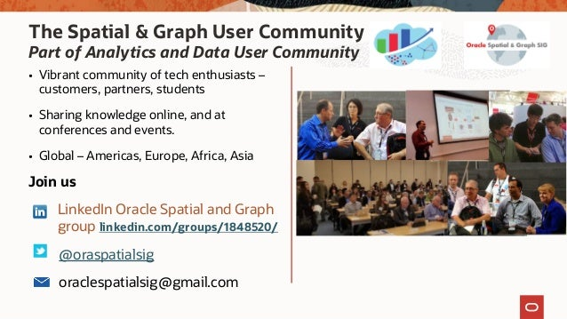 The Spatial & Graph User Community Part of Analytics and Data User Community • Vibrant community of tech enthusiasts – cus...
