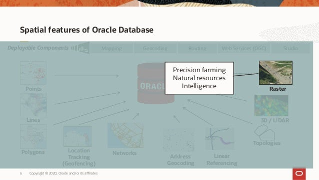 Copyright © 2020, Oracle and/or its affiliates6 Spatial features of Oracle Database Topologies 3D / LiDAR Networks Web Ser...