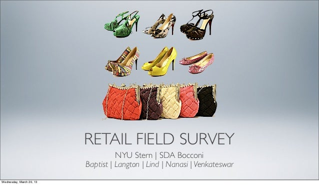RETAIL FIELD SURVEY NYU Stern | SDA Bocconi Baptist | Langton | Lind | Nanasi | Venkateswar Wednesday, March 20, 13
