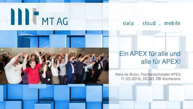 Ein APEX für alle und alle für APEX! Niels de Bruijn, Fachbereichsleiter APEX 11.05.2016, DOAG DB Konferenz