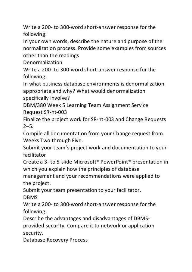 dbm 380 week 2 Database design paper dbm 380 join login the dbm 380 week 1 dq 2 dbm 380 week 2 team assignment service request sr-ht-003 change request 2.