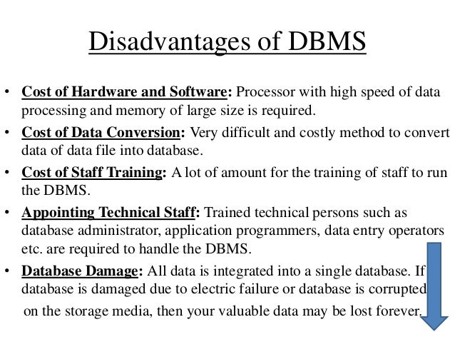 What Is Dbms Advantages And Disadvantages Of Dbms