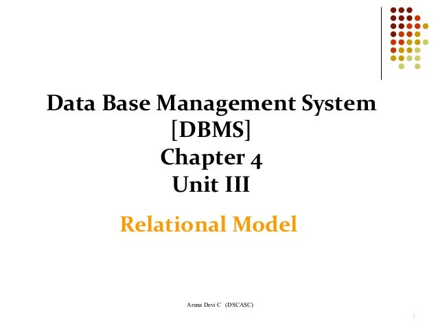 Aruna Devi C (DSCASC) 1 Data Base Management System [DBMS] Chapter 4 Unit III Relational Model