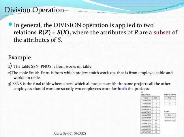 Division operator in dbms relational algebra with example in.