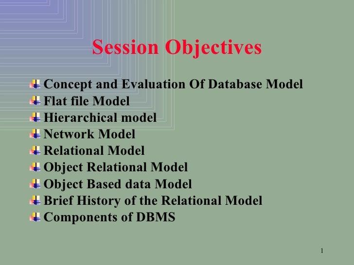 Session Objectives <ul><li>Concept and Evaluation Of Database Model </li></ul><ul><li>Flat file Model </li></ul><ul><li>Hi...