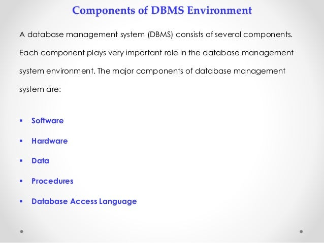 Five software components of DBMS