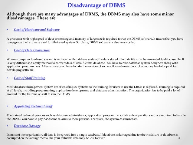 disadvantages of database management system Dbms mca-section a