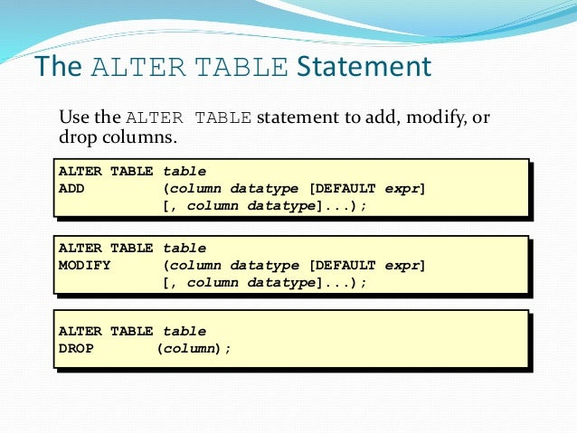 Dbms sql final - Alter table add column not null ...