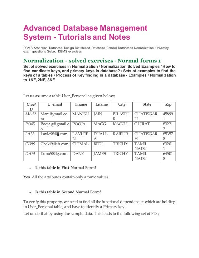 Dbms NOTES AND TUTORIAL - NORMALIZATION SOLVED QUESTION