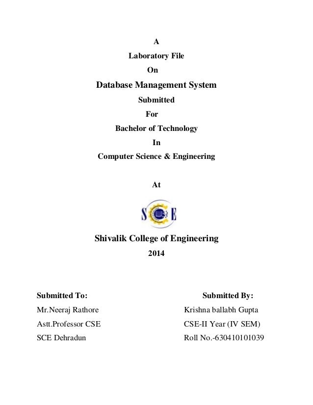 a laboratory file on database management system submitted for bachelor of technology in computer science