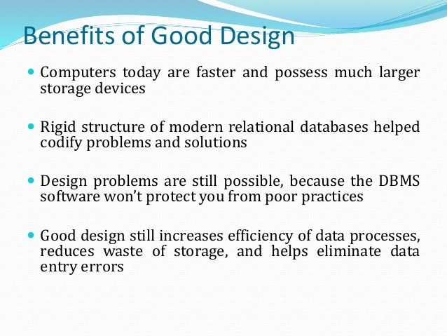 orphaned information 8 benefits of good design - Relational Database Design Software