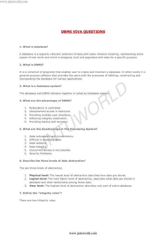Pdf answers dbms viva questions and lab