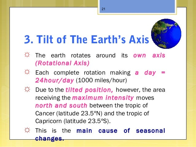 3. Tilt of The Earth's Axis ☼ The earth rotates around its own axis (Rotational Axis) ☼ Each complete rotation making a da...