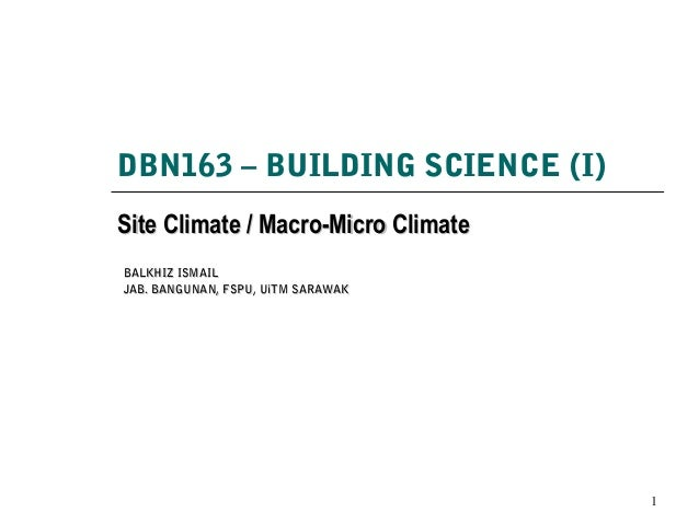 DBN163 – BUILDING SCIENCE (I) Site Climate / Macro-Micro ClimateSite Climate / Macro-Micro Climate 1 BALKHIZ ISMAILBALKHIZ...