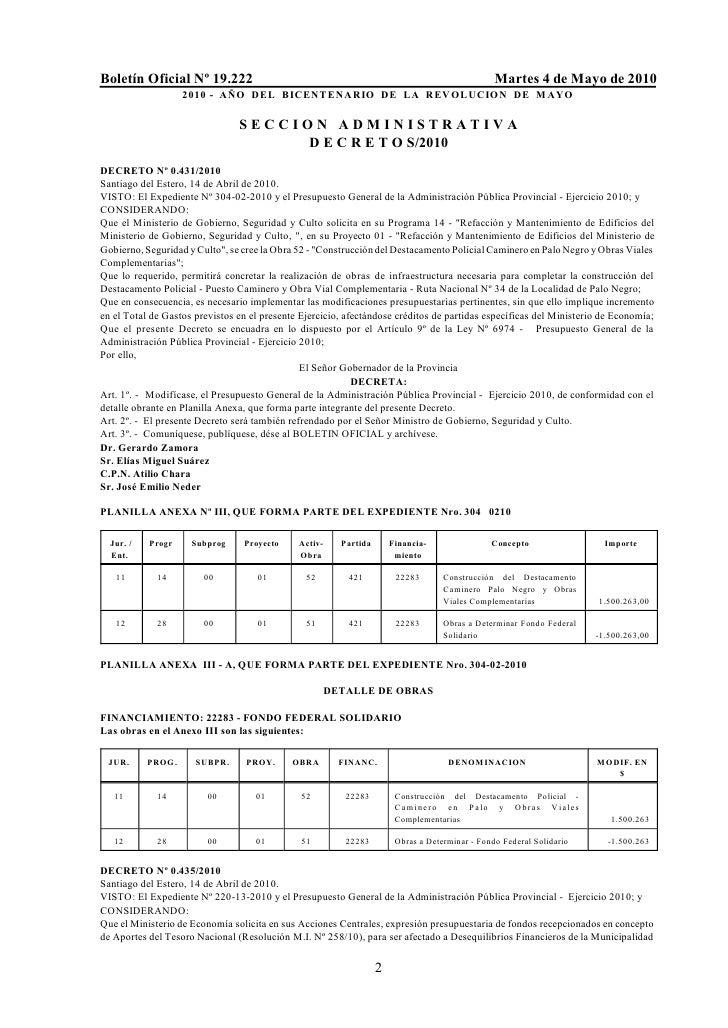 Boletín Oficial Nº 19.222                                                                        Martes 4 de Mayo de 2010 ...