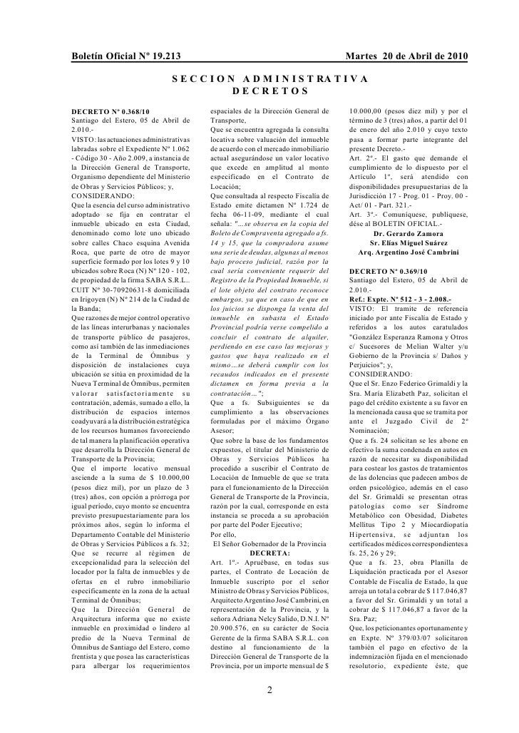 Boletín Oficial Nº 19.213                                                             Martes 20 de Abril de 2010          ...