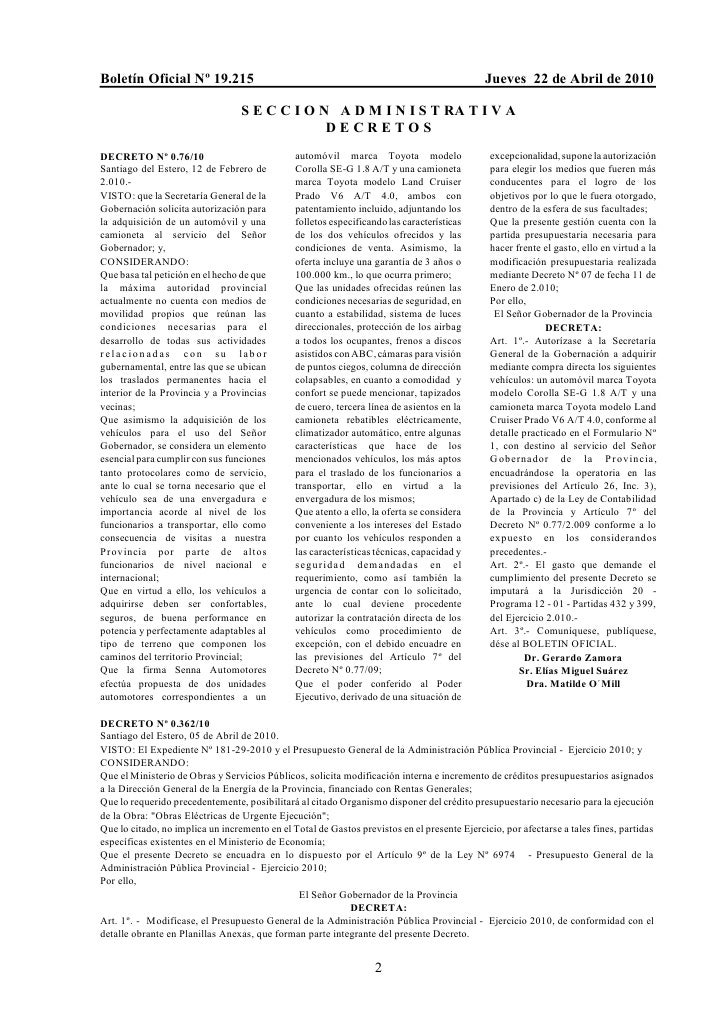 Boletín Oficial Nº 19.215                                                                    Jueves 22 de Abril de 2010   ...
